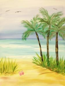 Canvas Beach palm trees