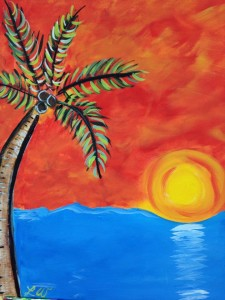 Canvas Sunset w palm