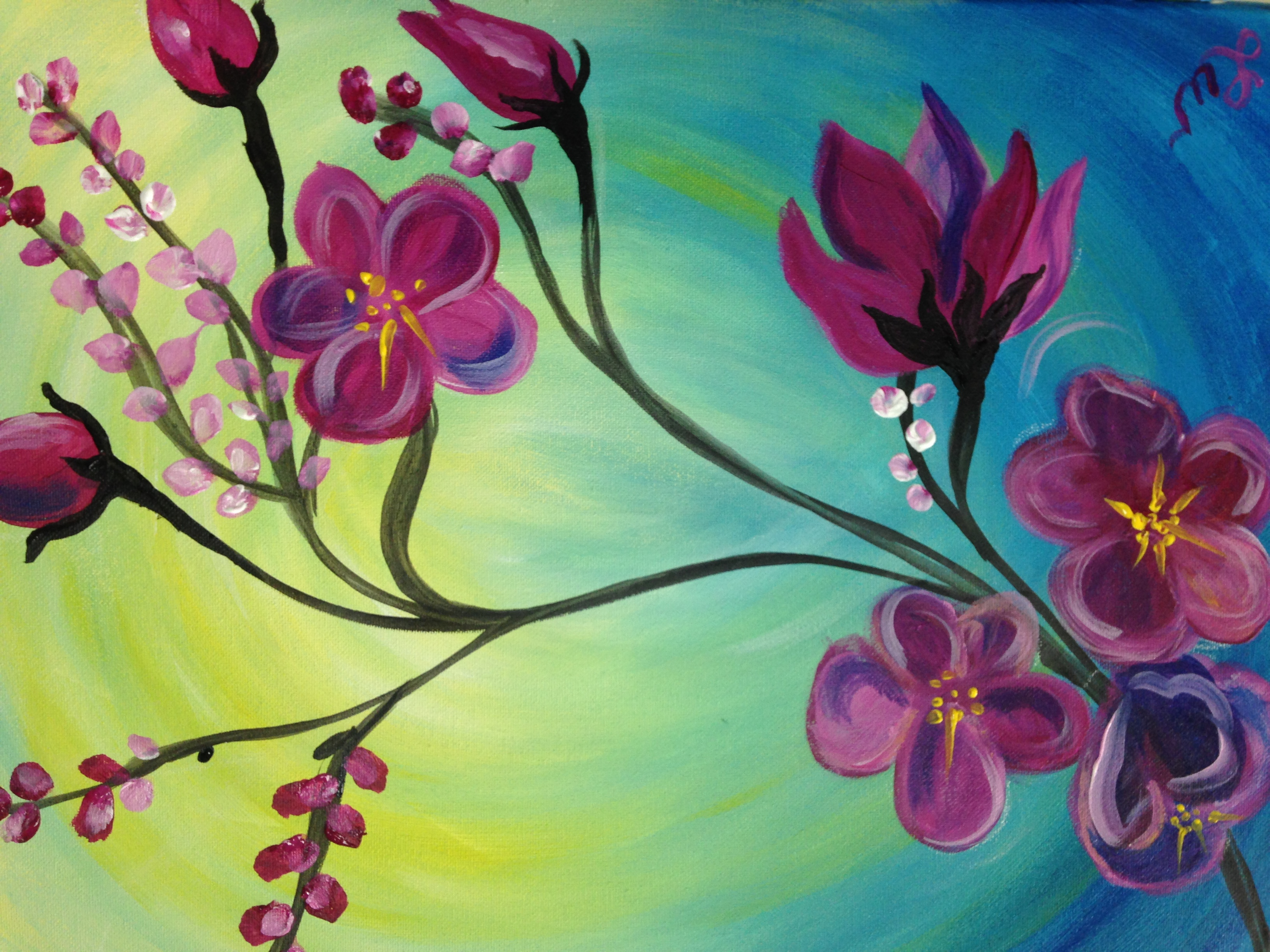 Paint Night Ideas Step By Step Flower