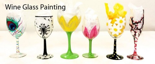 Paint pour wine glass painting bisque it a fun art for Type of paint to use on wine glasses