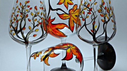 wine glasses fall leaves and maples leaves